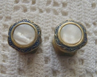 Vintage Snap Cuff Links Art Deco Enamel Mother of Pearl Kum-A-Part