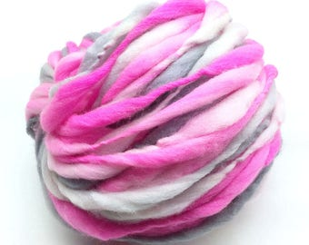 Thick and thin hand spun yarn, spun super bulky/ jumbo in hand dyed merino wool -55 yards, 3.2 ounces/93 grams