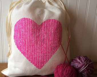 Love in Every Stitch - Large Knitting Project Bag