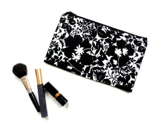 Cosmetic zipper pouch, black and white bold leaf fabric design, gift for her, pencil case, gift under 20, makeup bag