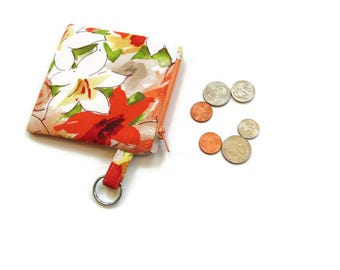 Change purse, coin purse, key ring holder clip, mini wallet, money pouch, coin keeper, orange yellow floral design, padded pouch