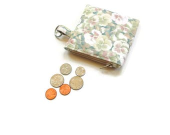 Small coin purse key holder, cotton pastel, small wallet for her, change purse zipper pouch