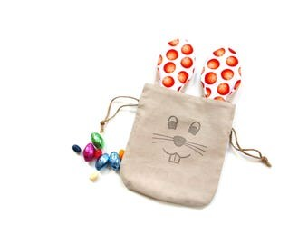 Bunny face bag, treat bag, goodie bag, Easter bunny gift bag with orange long ears, linen gift bag, party bag, basket filler, Easter gift,