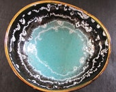 Bowl Abalone Form Shell 1950s West Germany Midcentury Turqouise