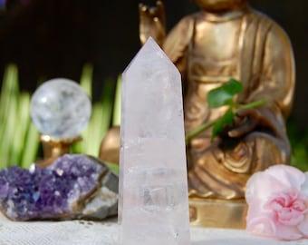 Rose Quartz Crystal Point, Love Stone, Heart Chakra Healing Stones, Receive EXACT Crystal, 112 Grams