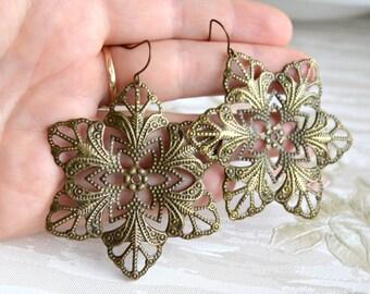 Flower earrings Filigree jewelry Large earrings Filigree Bohemian earrings Boho jewelry Gypsy earrings Dangle earrings Gift under 10