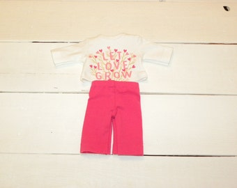 Deep Pink Pants and Cream Coloured Tshirt - 12 inch doll clothes