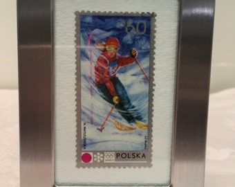 Snow Skiing Picture, Vintage Stamp, Gift for Skier, Gift Under 10, Framed Postage Stamp, Postage Stamp
