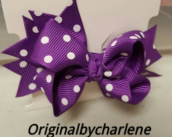 Boutique Purple with White Dots Hairbow