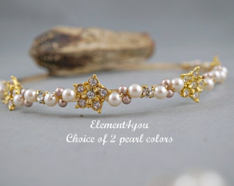 Wedding Headband, Gold Champagne ivory pearls headband, Bridal headpiece, Wedding hair tiara, Rhinestone hair  piece, Swarovski pearls