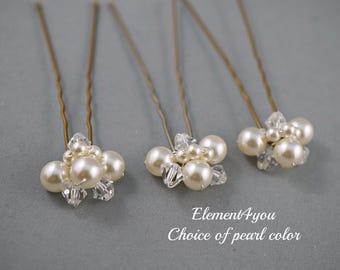 Bridal hair piece. Wedding set of 3 U pins. Pearls crystals cluster pins, Ivory Pearl hair pins. Wedding accessories. White pearls.