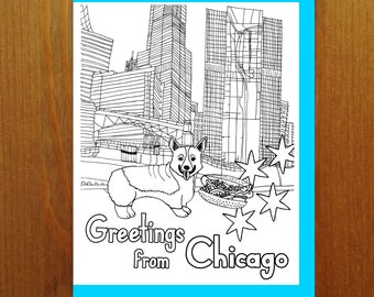 Chicago Hot Dog and Corgi with Skyline - Color Your Own Greeting Card - Adult Coloring Card