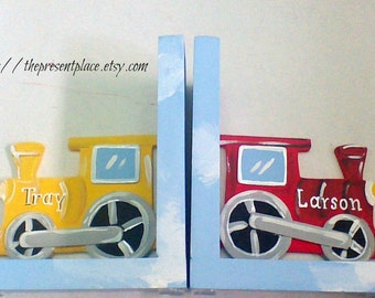 yellow and red train bookends,personalized bookend,spersonalized gift,childrens bookend,trains,train bookends,boys bookends,kids book ends