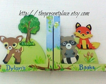 personalized wooden bookends,forest creatures,boys woodland bookends,fox bookends,forest bookends,deer bookends,woodland animals,deer,fox