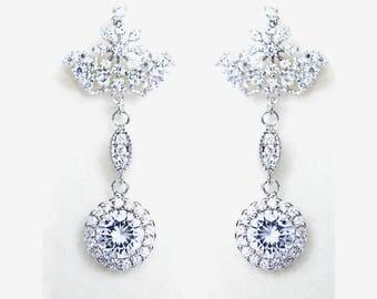 Crystal Silver earrings  Bridal  diamond dangle earrings Rhodium plated Crown Crystal Wedding jewelry