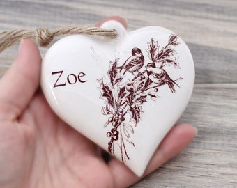 Personalized ceramic heart heirloom ornament with name, name ornament, custom ceramic Christmas tree ornament