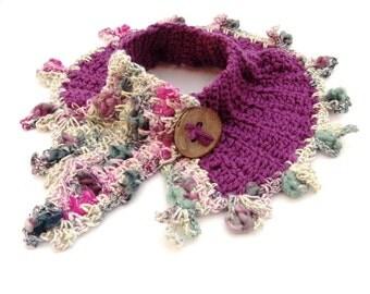 Crochet Spring freeform fairy wool neckwarmer colorful boho fashion scarf customized