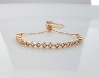 Rose Gold Bridal Bracelet, Bridesmaid Bracelet, Crystal Bridal Bracelet, Simple Bridal Bracelet, Gold, Wedding Bracelet, Bella Bracelet