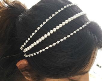 Rose Gold Wedding Headpiece Crystal Hair Chain Rhinestone Pearl Hair Chain Rose Gold Bridal Head Piece Wedding Hair Jewelry, Leah