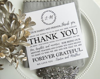 Wedding Reception Thank You Card - Style TY111 - BRANCHES COLLECTION  | Reception Thank You Note  |  Table Card PRINTED