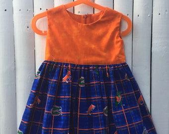 UF Gator Girl Dress   Florida Gator Baby Dress   Florida Gator Baby Toddler Clothing   Baby Girl Gator Clothing   UF Gator Baby Girl Dress