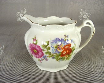 Vintage White Bone China Creamer with Floral Design and Gold Detailing