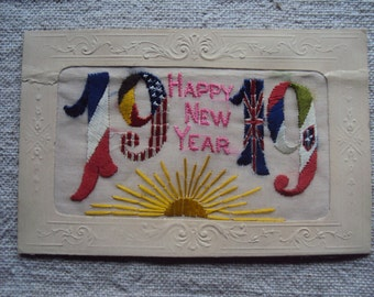 Antique French Embroidered Silk World War I Postcard Happy New Year 1919  Embroidered Postcard