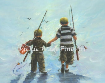 Vickie wade etsy for Little boy fishing