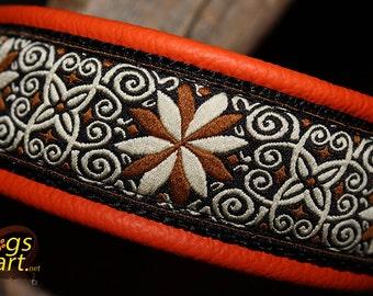 "Dog Collar ""Pinwheel Zinnia"" by dogs-art, martingale collar, leather dog collar, orange dog collar, custom dog collar, dog collar, dog"