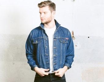 Vintage 80s Denim Jacket . Mens 90s Dark WASH Denim Trucker Jeans Jacket Distressed Worn In Dark Stonewashed Blue Crop Jacket . size Small