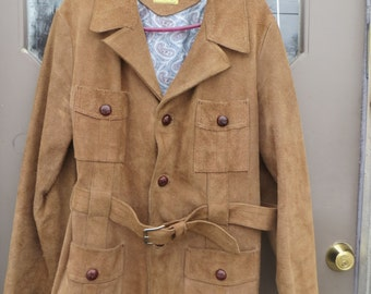 mens 70s vtg      deerskin  PIEL GENUINA Mexico   fine  suede   LEATHER Western Jacket /car coat belted  sz 42
