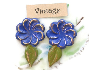 Vintage Findings Brass Flower Cabochons Painted Stamping Leaves Leaf NOS (1443A)