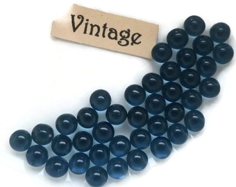 Vintage Glass Balls 4mm Eyes Blue Round No Hole Marbles Solid NOS Montana (1447B )