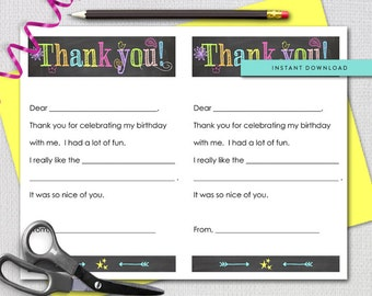 Fill In The Blank Thank you note, Bright Neon Chalk, Printable Stationery Sheets, Instant Download, Printable File 5504
