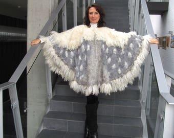 Women Poncho Grey White wool Cape, Felted poncho, Wings poncho Grey wool cape  outerwear oversized poncho,  poncho for women