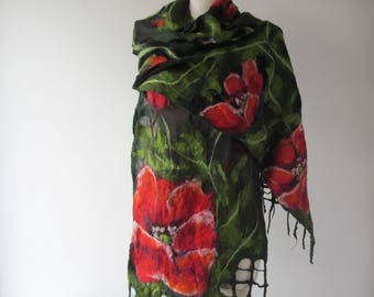 Nuno Felted scarf   Poppy scarf red green flower silk scarf black women scarf by Galafilc