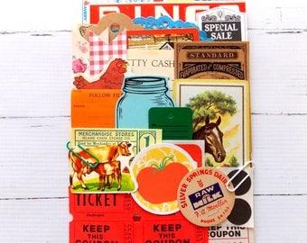 Farmhouse Ephemera Pack / 45+ Pieces / Vintage Ephemera / Paper Ephemera / Journal / Farm Inspiration Kit