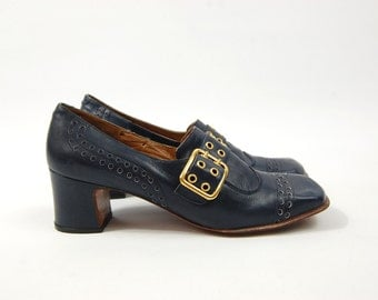 Late 1960s Navy Blue Leather Pumps // Gold and Blue Buckle Shoes // Pilgrim Granny Square toe // Made in Spain for Winston Shoes