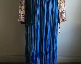 Vintage Denim Thick Cheese Cloth Drawstring Maxi Skirt • Blue Full Skirt • Classic One Size