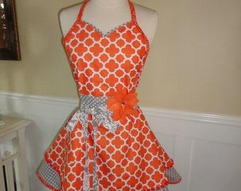 Orange You Cute  -Full Women's Apron ~ Tangerine/Gray ~ Sadie Style ~ 4RetroSisters