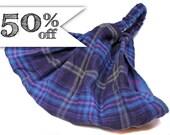 50% off - Navy & Purple Plaid Headscarf, Extra Wide Headband, Reversible Head Wrap, Plaid Headband, M L Sale