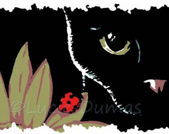 Digital Download black Cat 510 Ladybug Graphic Print Printable art painting by Lucie Dumas