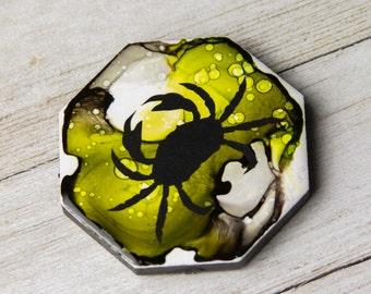 Alcohol Ink magnet - Ceramic tile art - Crab decor - Crab magnet - Coastal decor - Beach decor - Miniature art - Gift for mom - Green magnet