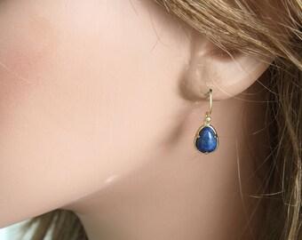 Lapis Lazuli Imitation Earrings, Dangle Earrings, Glass Charm Earrings, Small Dangle Earrings, Blue Glass Earrings, Everyday Earrings