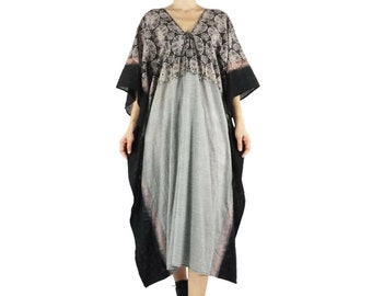 One Of A Kind Boho Grunge Lace Printed Black Tie Dye Dark Gay Small Plaid Light Cotton Kaftan Dress Poncho Dress Women Tops Maxi Dress