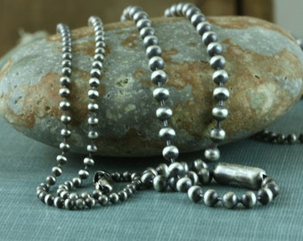 Sterling Silver 2mm, 3mm 3.2mm Ball Bead Chain Artisan Oxidized Bright Shiny Rustic Solid .925 Sterling Silver Chain for Charms Pendant