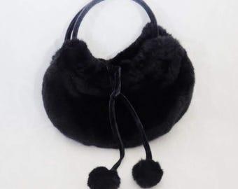 Vintage Old Navy Black Faux Fur Purse