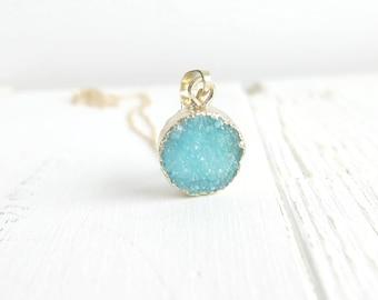 Light Blue Druzy Necklace 14K Gold, Round Druzy Necklace, Natural Druzy Necklace, 18K Gold Edged Druzy, Bohemian Crystal Necklace, Drusy