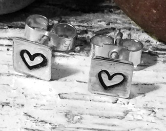 Tiny Heart Earrings - Tiny Silver Earrings, Handmade Stud Earrings - Tiny Square Studs - Valentine's Gift
