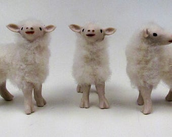 """Doll House Scale Bottle Fed Lambs 2"""" Tall  1"""